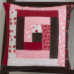 Valentine's Day Log Cabin Pillow