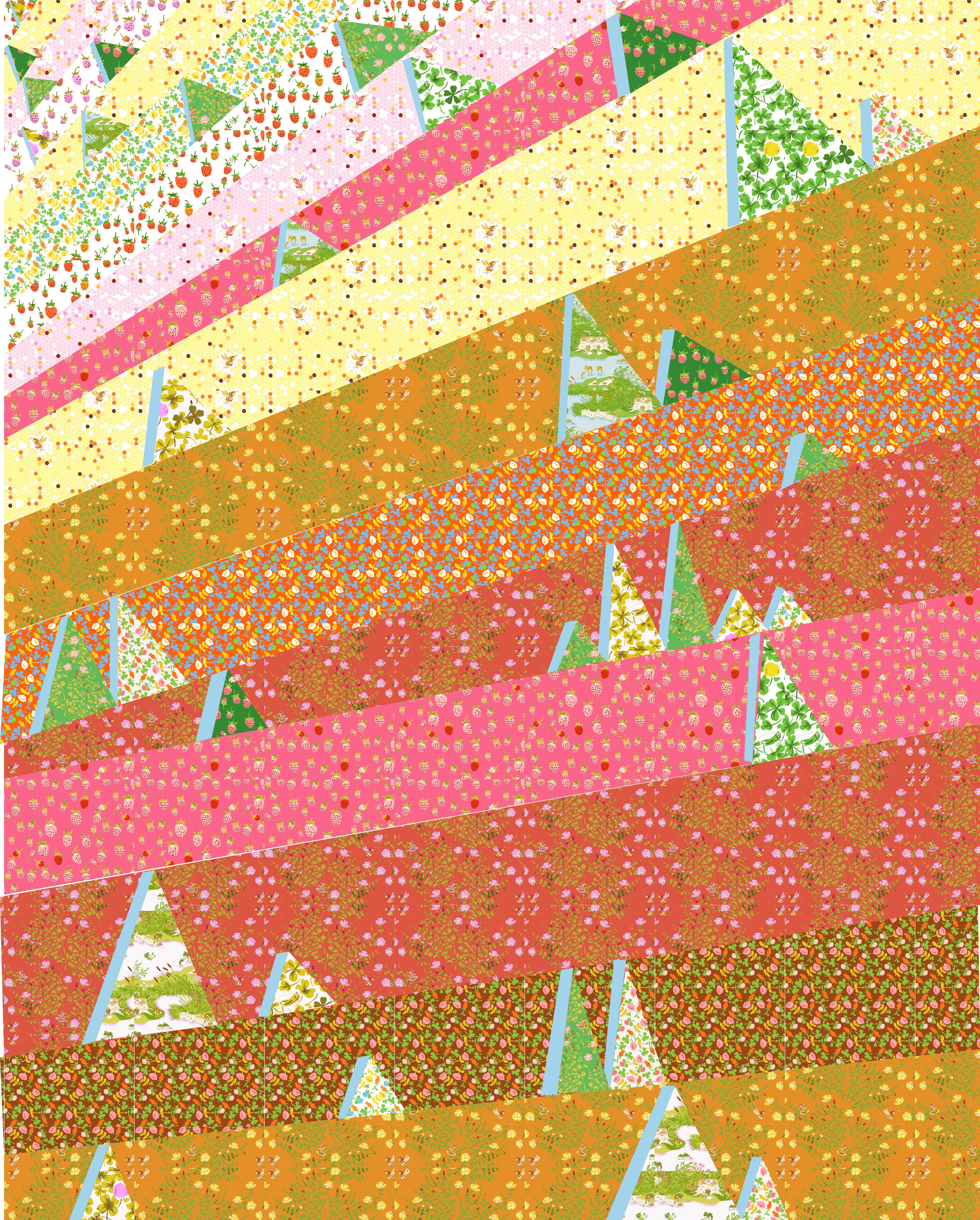 "This would be the sunniest, happiest summer quilt ever!  I would applique the little triangle ""trees"" on to the sunny ""meadow"" and quilt it with simple radiating lines. Perfect for daydreaming on a summer afternoon."