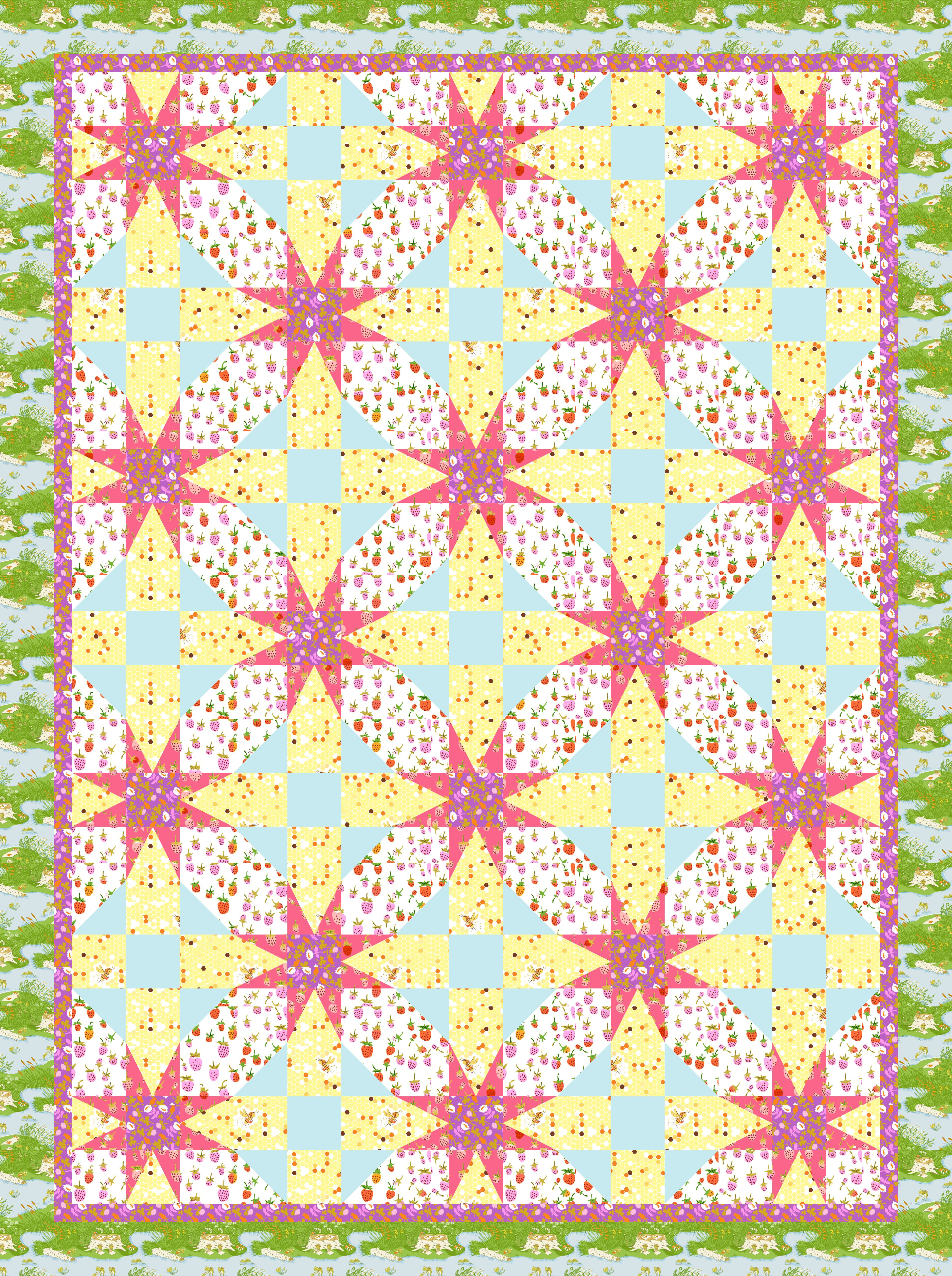 A combination of an eight point star and a shoo fly block. The stars look like flowers, appropriate to the theme of the fabric, and the white background fabrics create a pathway among the flowers. These colors are so pretty, I love that the aqua solid picks up the pond in the border fabric.
