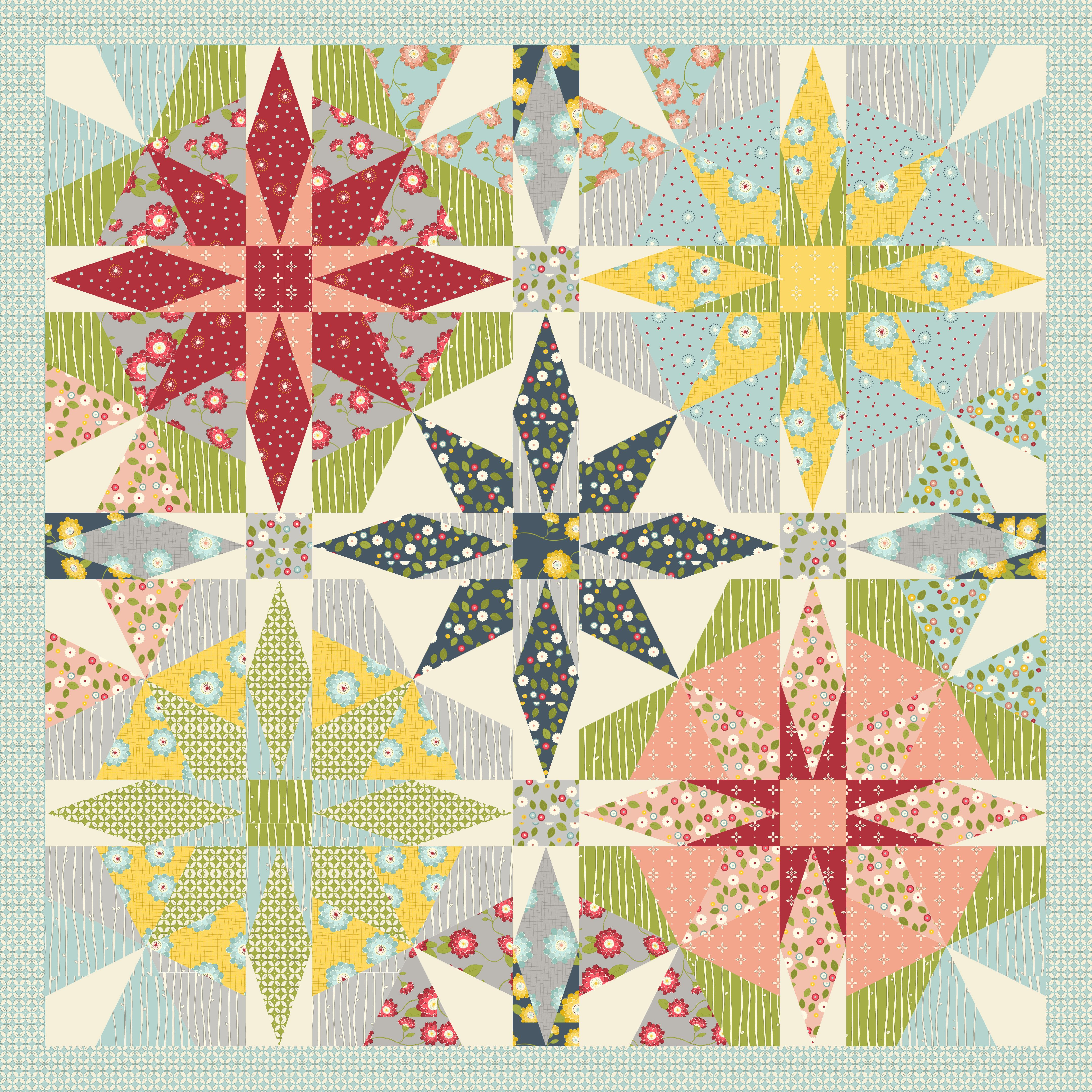 My two favourite blocks, Kaleidoscope and Storm at Sea in one quilt!