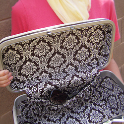 Vintage Train Case - Damask